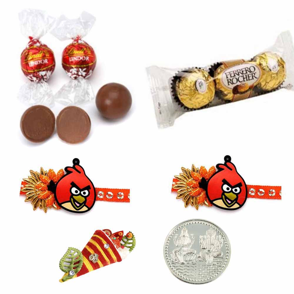 2 Angry Birds Rakhi Double Chocolate Pack ?2 oz each, Lindt, ferrero rocher