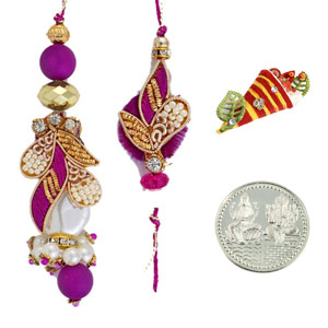 Royal Rakhis-Handcrafted Zardosi Bhaiya Bhabhi Rakhi Pair with a Silver Coin