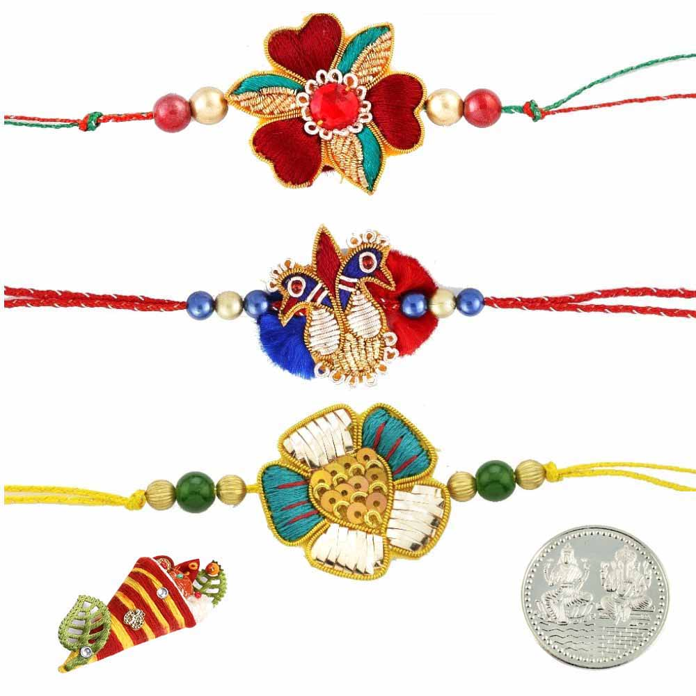 Zardosi Rakhi Set of