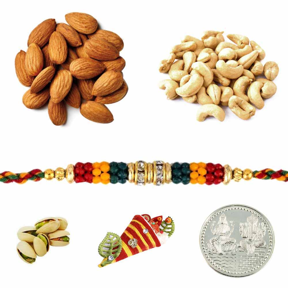 Rakhi with Mixed Dryfruits and Silver Coin
