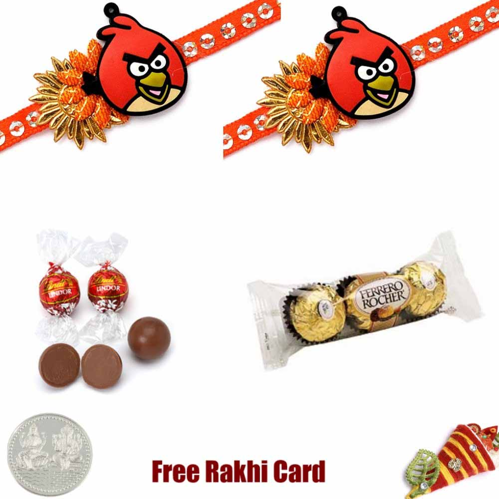Chocolates-Double Angry Birds Rakhi Combo