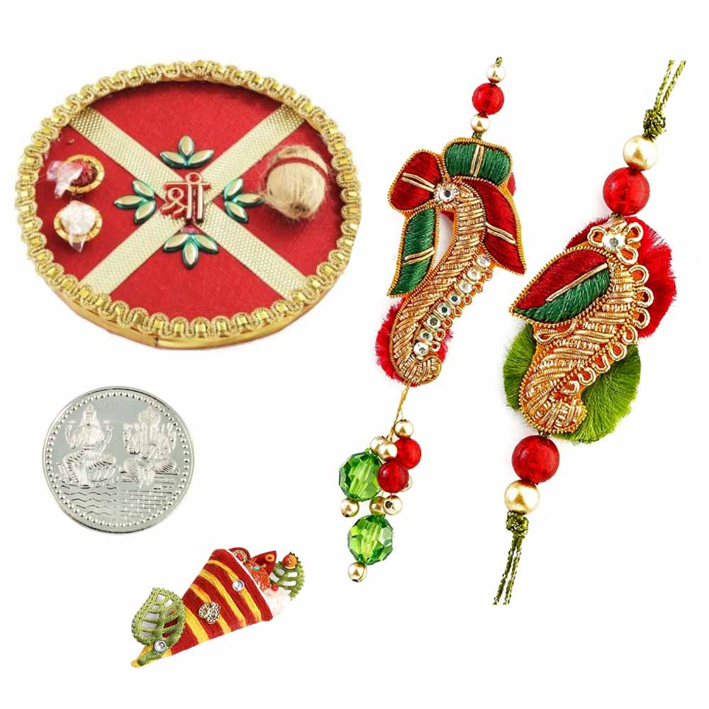 Rakhi Thali with Lumba Rakhi Pair
