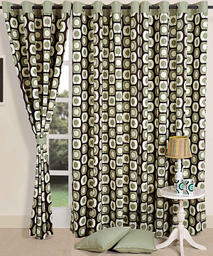 Dotted Green Door Curtain