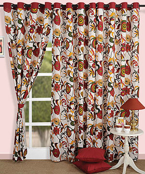 Bright Floral Door Curtain