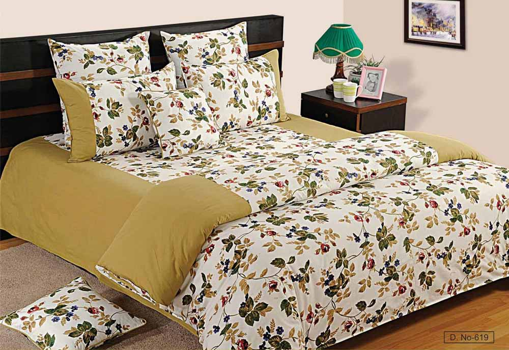 Bedsheets-Swayam Sea Green and Off White Colour Floral Bed Sheet with Pillow Covers
