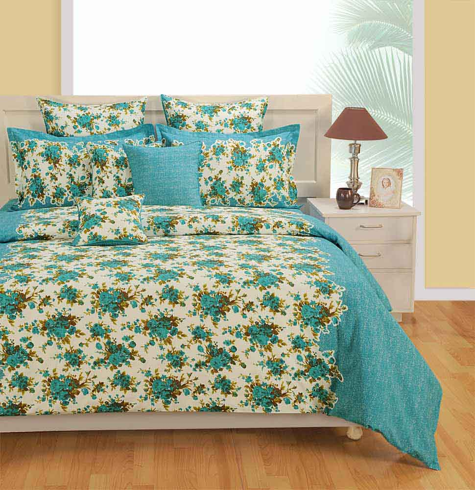 Bedsheets-Swayam Blue and White Colour Floral Bed Sheet with Pillow Covers
