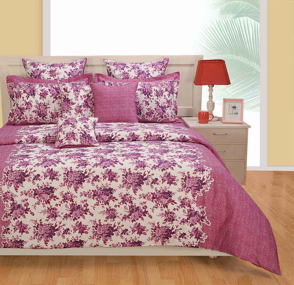 Bedsheets-Swayam Purple and White Colour Floral Bed Sheet with Pillow Covers