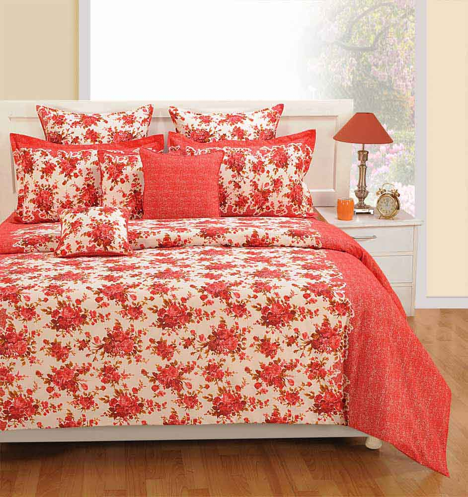 Bedsheets-Swayam Red and White Colour Floral Bed Sheet with Pillow Covers