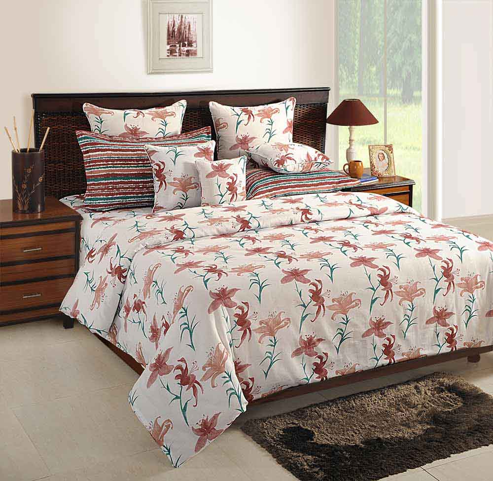 View Swayam White and Peach Colour Floral Bed Sheet with Pillow Covers