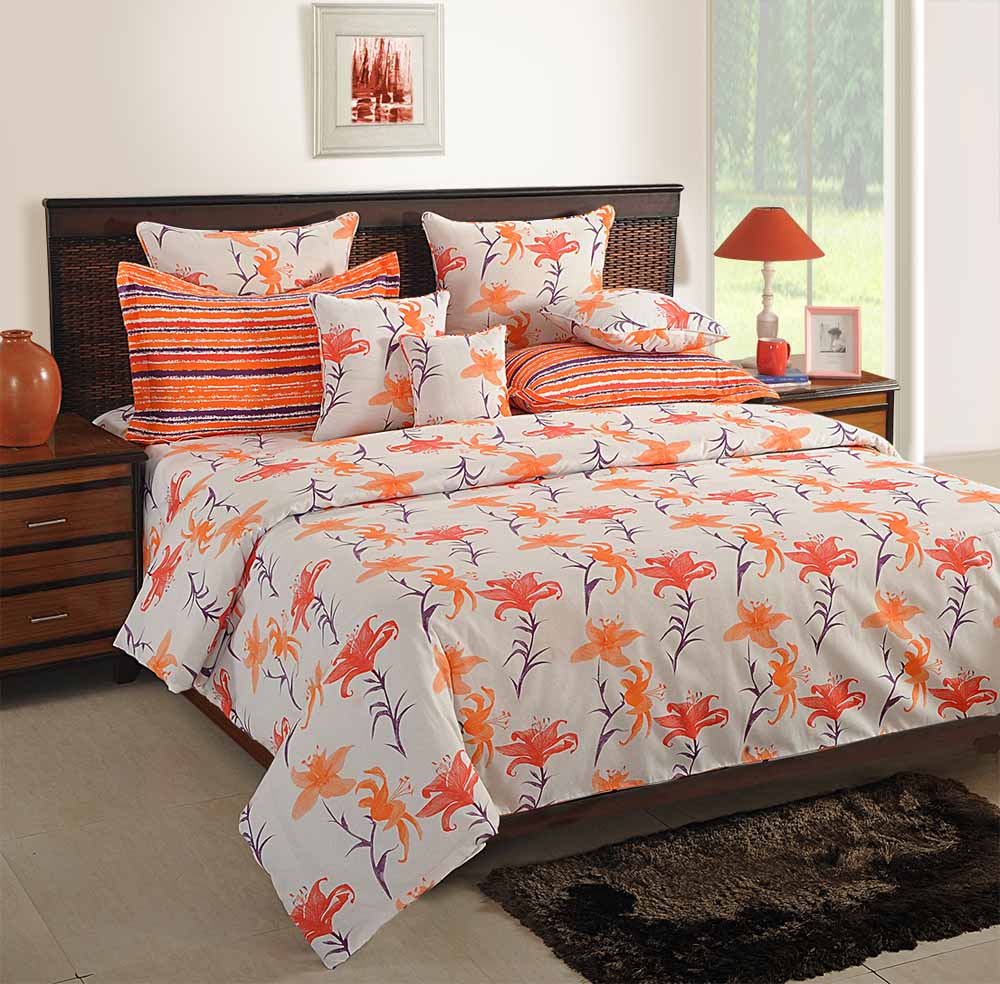 View Swayam White and Orange Colour Floral Bed Sheet with Pillow Covers