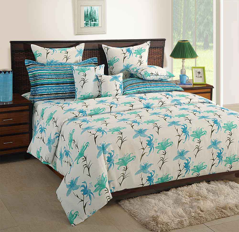 View Swayam White and Blue Colour Floral Bed Sheet with Pillow Covers