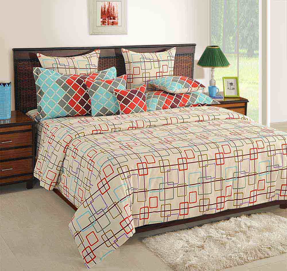 Bedsheets-Swayam Offwhite and Red Colour Geometrical Pattern Bed Sheet with Pillow Covers