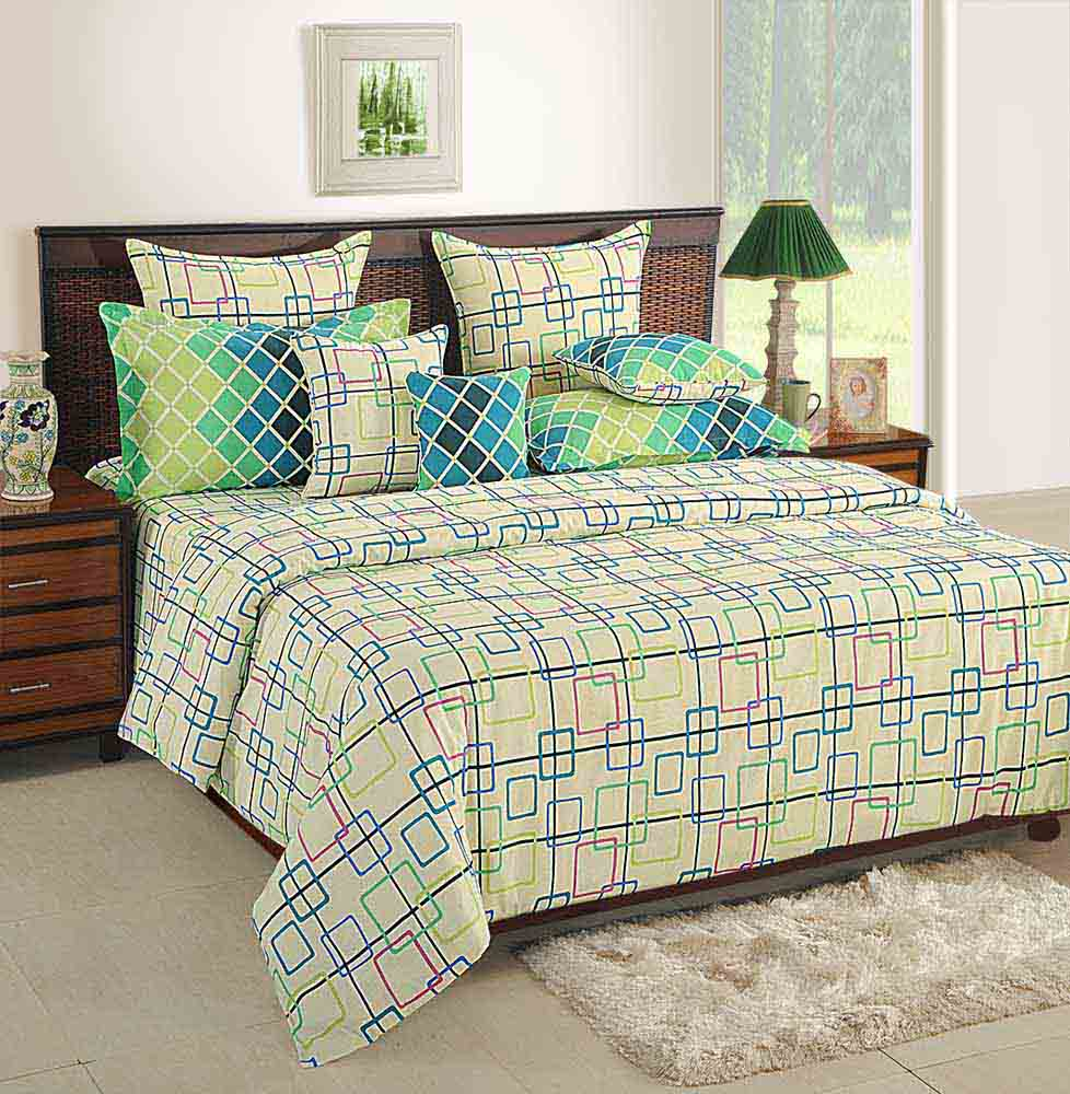 Bedsheets-Swayam Cream and Green Colour Geometrical Pattern Bed Sheet with Pillow Covers