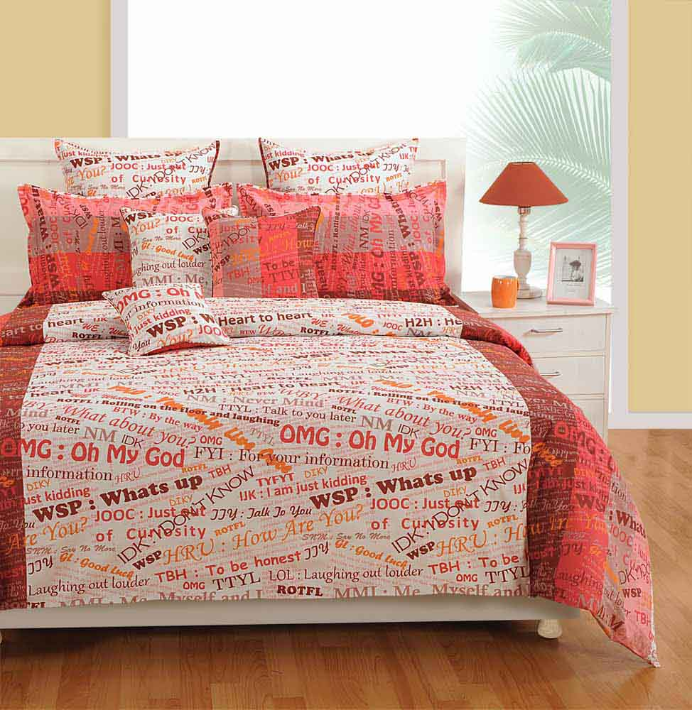 Swayam White and Pink Colour Text Print Bed Sheet with Pillow Covers