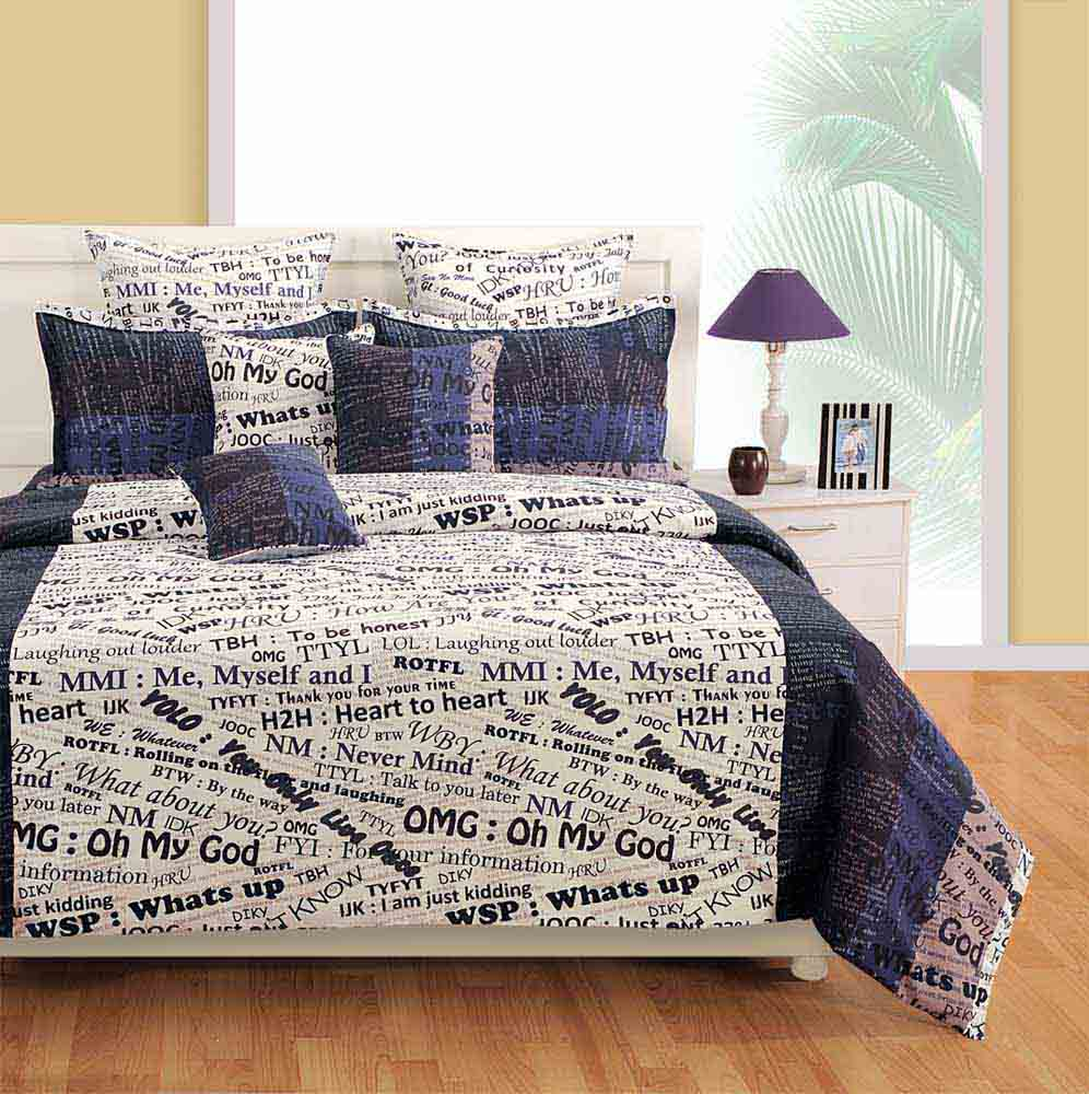 View Swayam White and Navy Blue Colour Text Print Bed Sheet with Pillow Covers