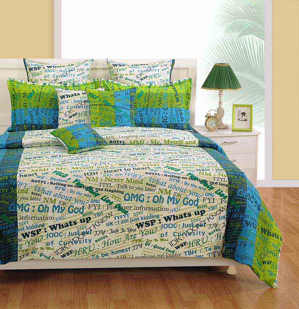 View Swayam White and Blue Colour Text Print Bed Sheet with Pillow Covers