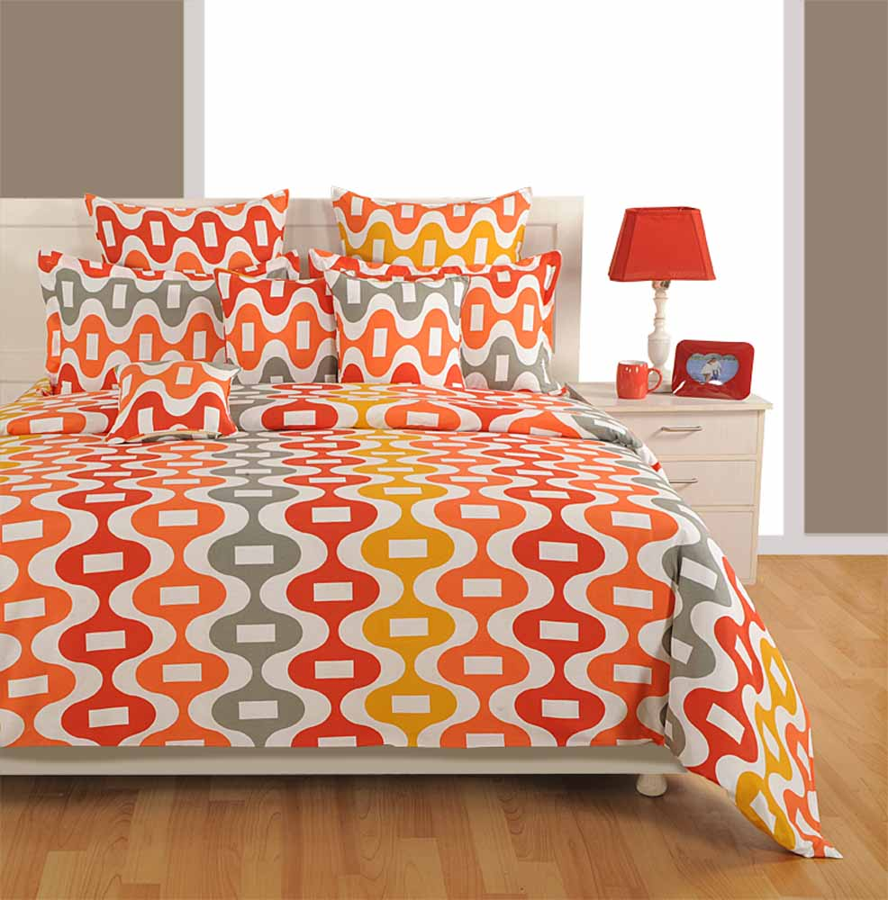 Bedsheets-Swayam Orange Colour Bed Sheet with Pillow Covers