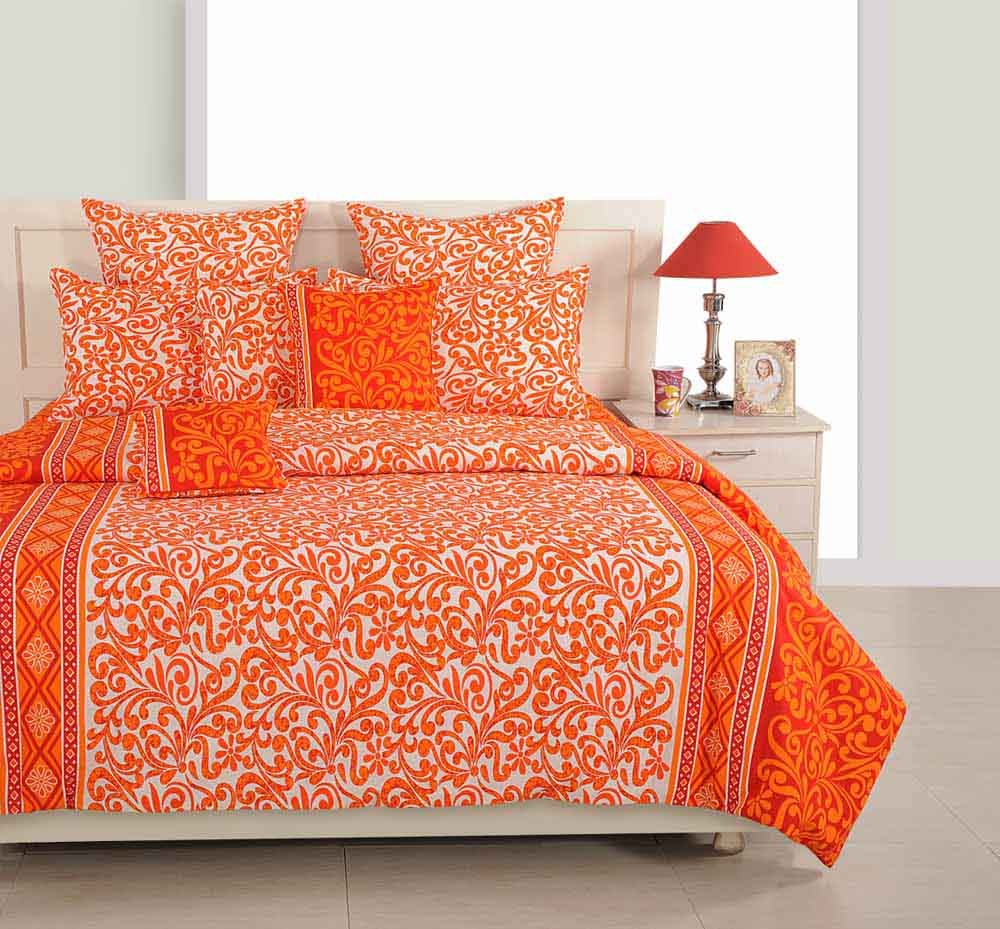 Swayam Orange and White Colour Floral Bed Sheet with Pillow Covers