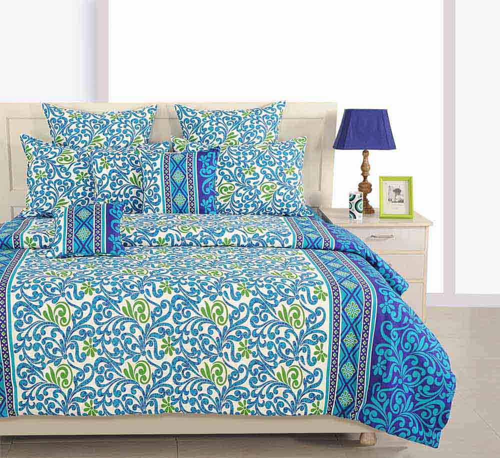 Swayam Navy Blue and Blue Colour Floral Bed Sheet with Pillow Covers