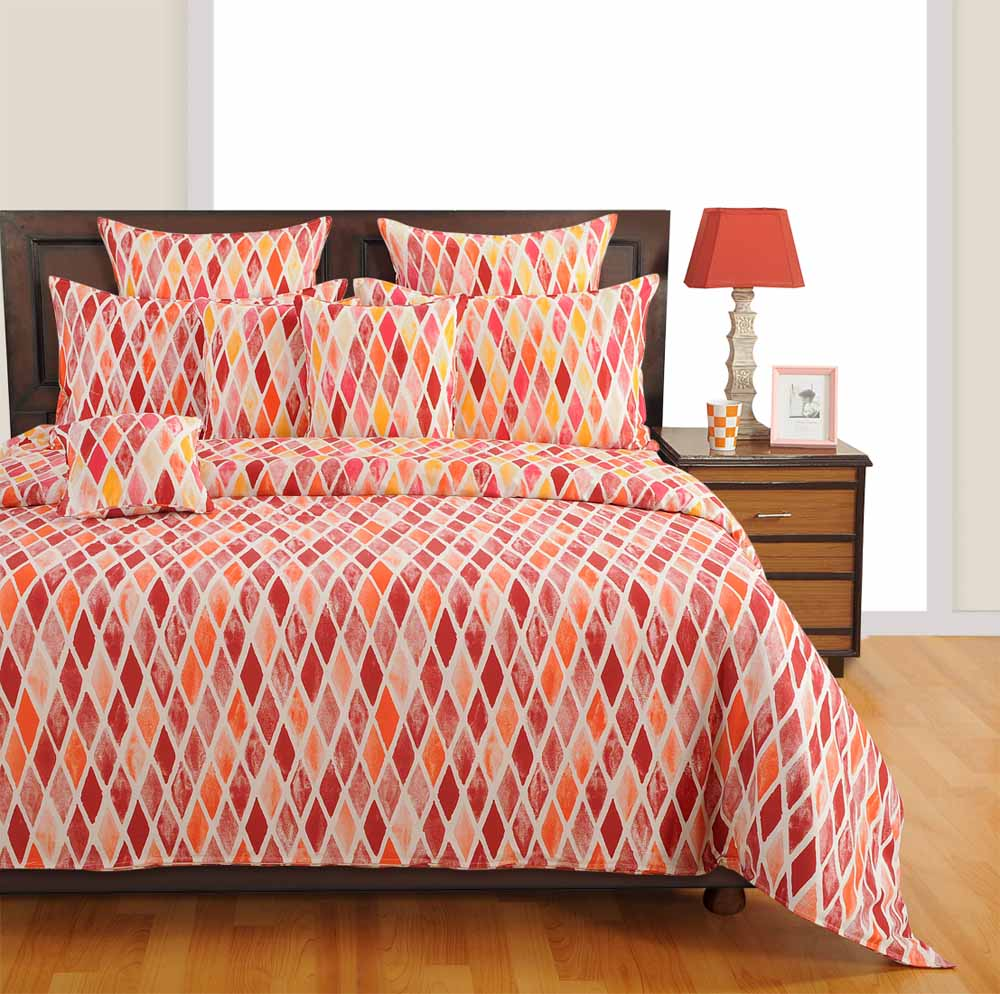 Swayam Orange Colour Bed Sheet with Pillow Covers
