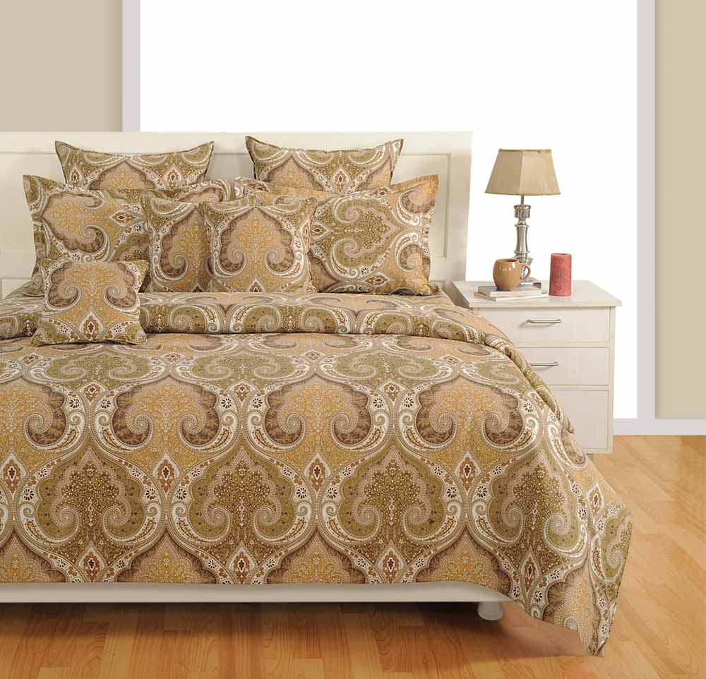 Superieur Bedsheets Swayam Beige Colour Extra Large Bed Sheet With Pillow Covers