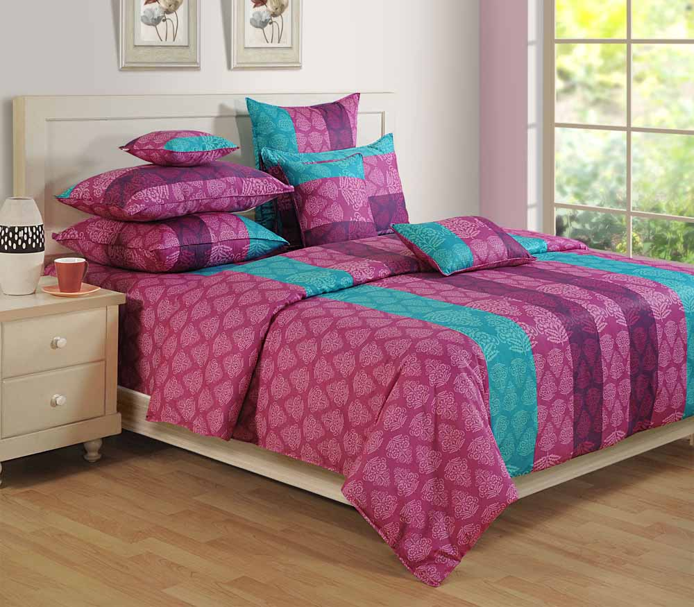 Swayam Purple Colour Bed Sheet with Pillow Covers