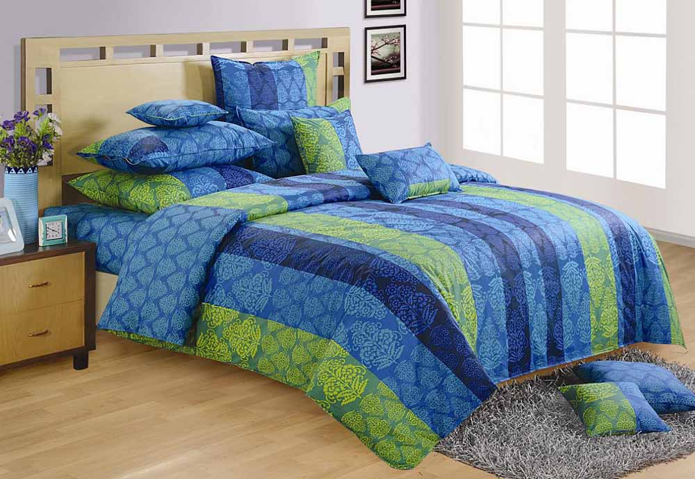 Bedsheets-Swayam Blue and Green Colour Stripes and Floral Bed Sheet with Pillow Covers