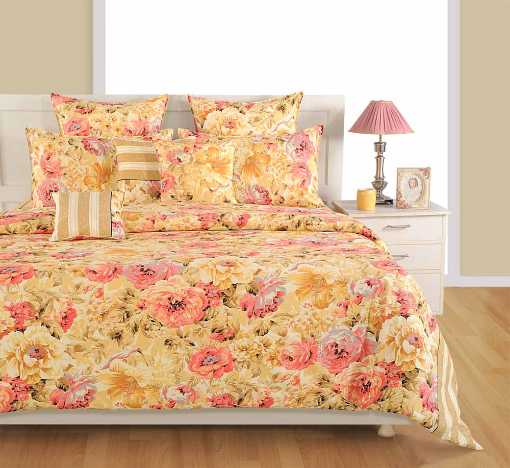 Bedsheets-Swayam Cream and Pink Colour Floral Bed Sheet with Pillow Covers