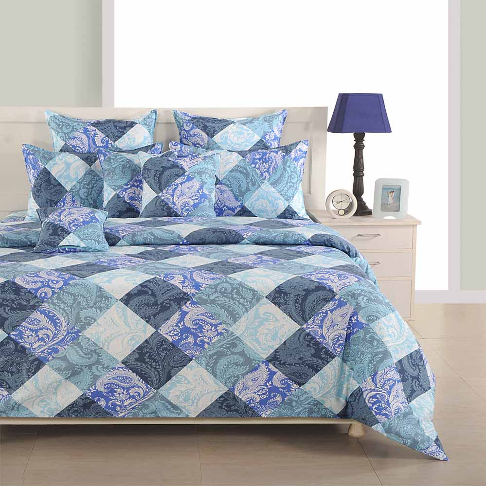Swayam Blue and Grey Colour Floral and Check Bed Sheet with Pillow Covers