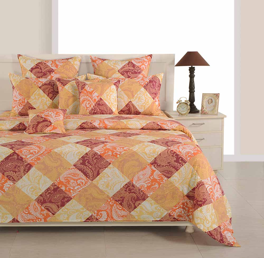 Bedsheets-Swayam Orange and Brown Colour Floral and Check Bed Sheet with Pillow Covers