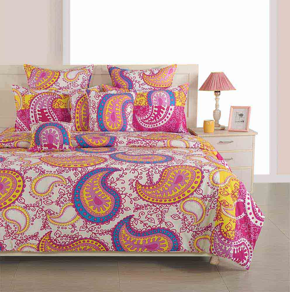 Bedsheets-Swayam Magenta and Yellow Colour Ethnic Bed Sheet with Pillow Covers