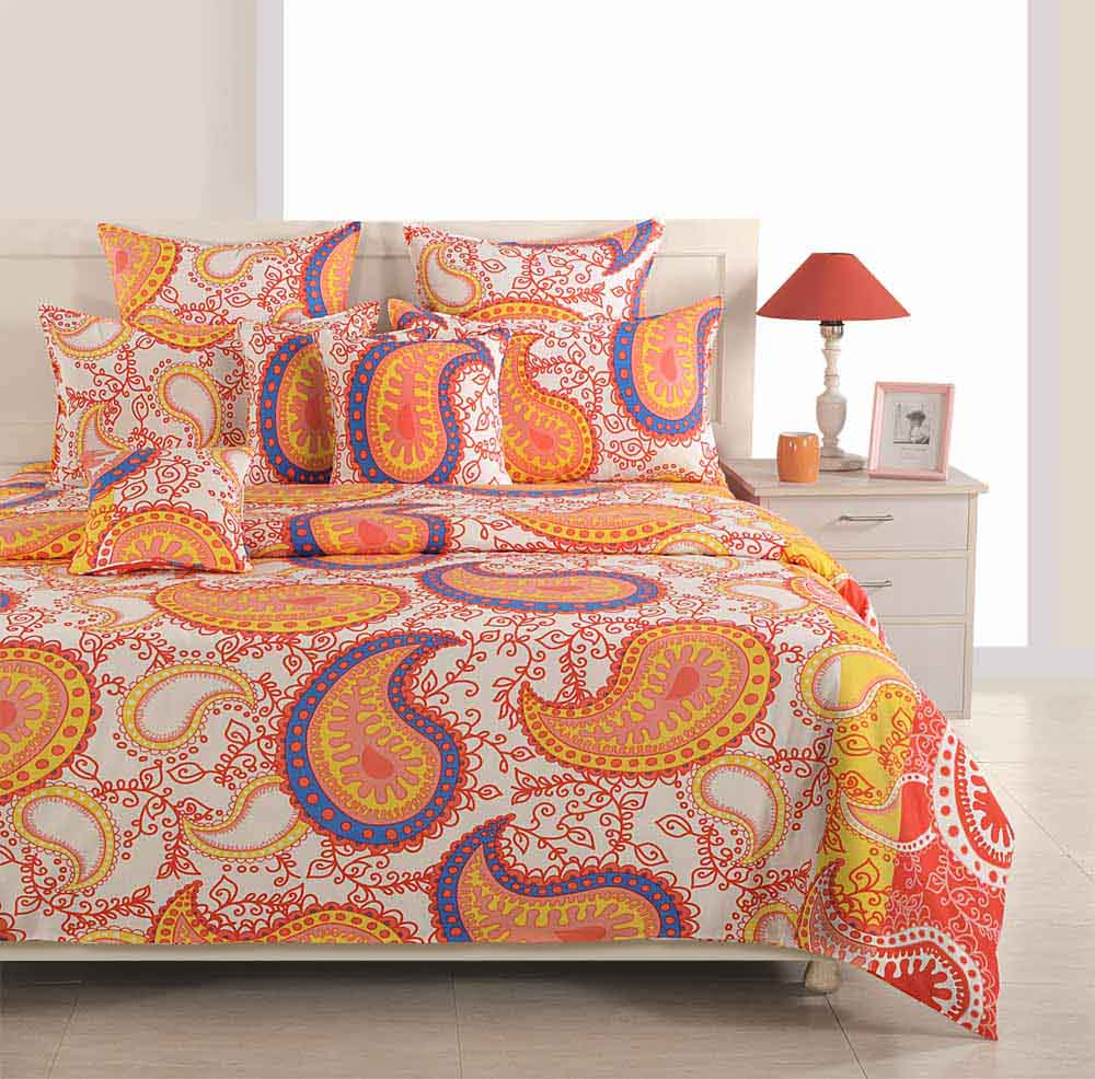 Swayam Yellow and Orange Colour Ethnic Bed Sheet with Pillow Covers