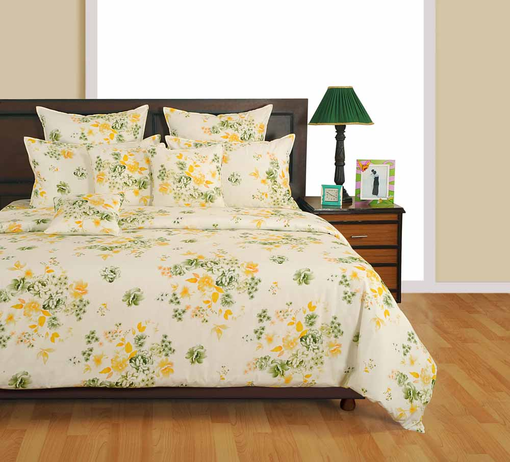 Swayam Off White and Yellow Colour Floral Bed Sheet with Pillow Covers