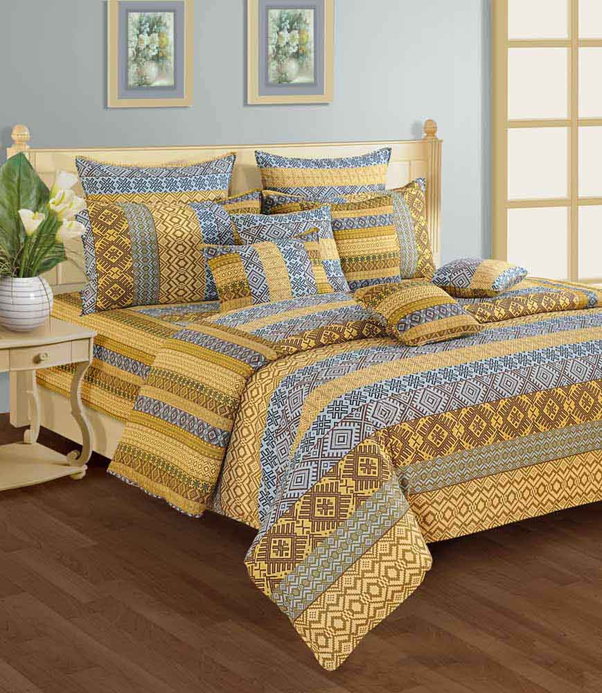 Swayam Blue and Brown Colour Geometrical Pattern Bed Sheet with Pillow Covers