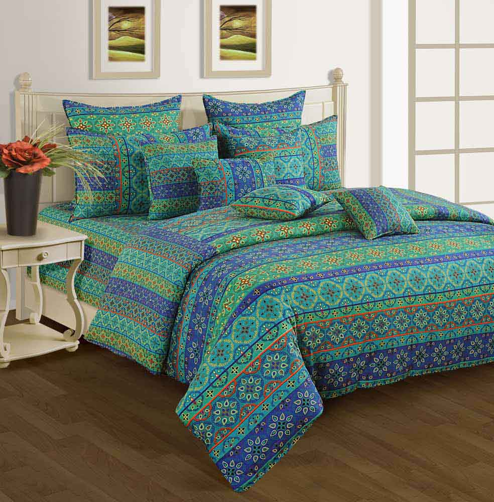Swayam Blue and Sea Green Colour Floral Bed Sheet with Pillow Covers