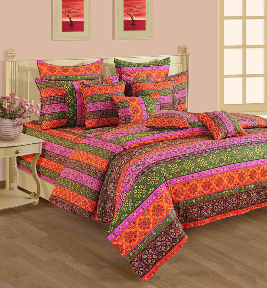 Swayam Orange and Green Colour Enthnic and Floral Bed Sheet with Pillow Covers