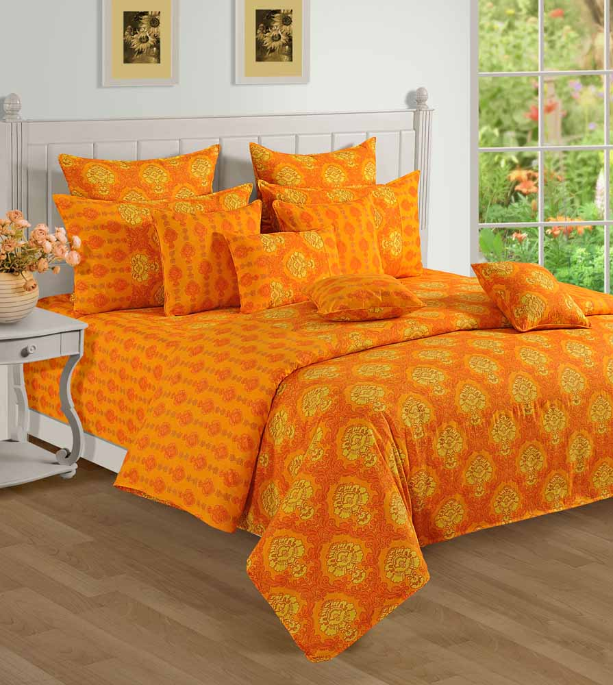 Swayam Yellow and Orange Colour Floral Bed Sheet with Pillow Covers