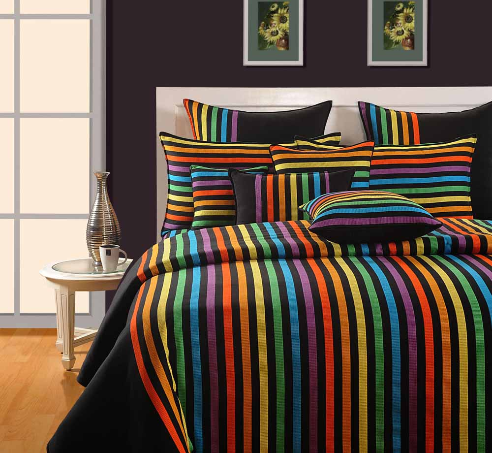 Swayam Blue and Yellow Colour Stripes Bed Sheet with Pillow Covers
