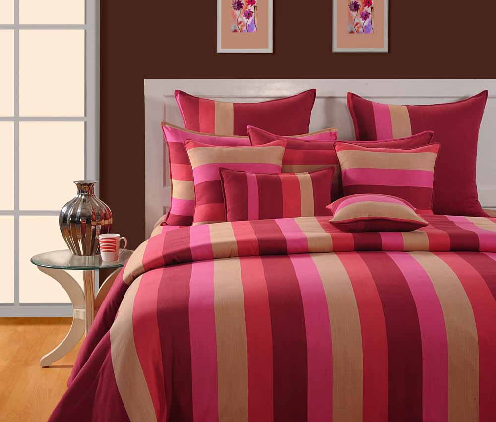 Swayam Magenta and Beige Colour Stripes Bed Sheet with Pillow Covers