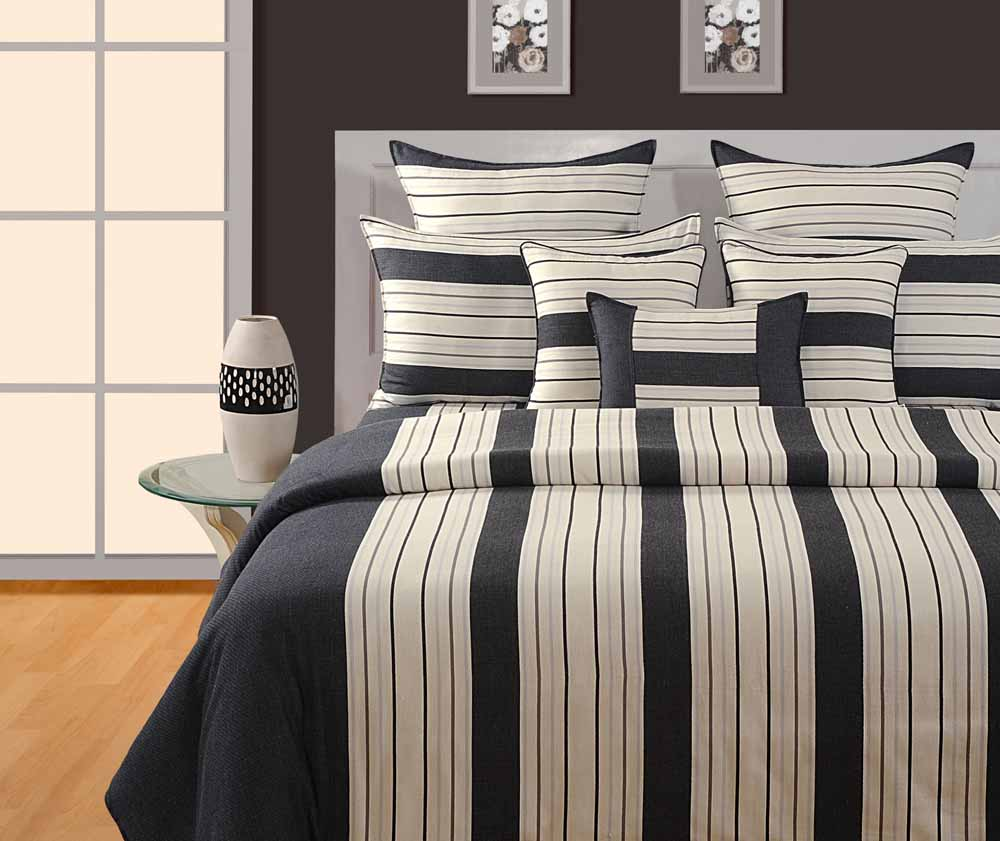 Swayam Black and Cream Colour Stripes Bed Sheet with Pillow Covers