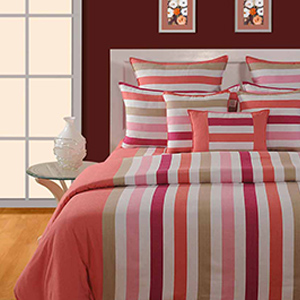 Swayam Magenta and Pink Colour Stripes Bed Sheet with Pillow Covers