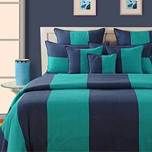 Bedsheets-Swayam Blue and Green Colour Stripes Bed Sheet with Pillow Covers