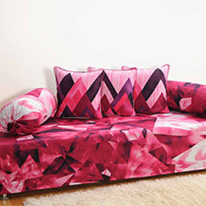 Swayam Pink and Purple Colour Geometrical Pattern Bed Sheet with Pillow Covers
