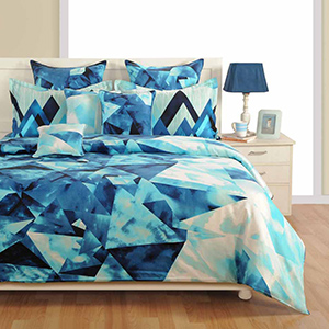 Swayam Blue and Navy Blue Colour Geometrical Pattern Bed Sheet with Pillow Covers