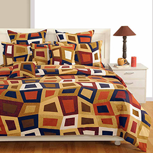 Swayam Brown and Blue Colour Geometrical Pattern Bed Sheet with Pillow Covers