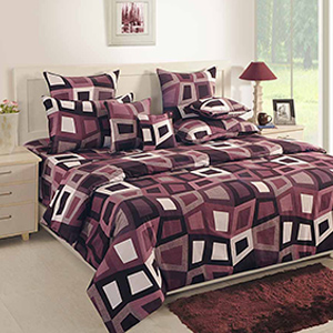 Bedsheets-Swayam Black and Grey Colour Geometrical Pattern Bed Sheet with Pillow Covers