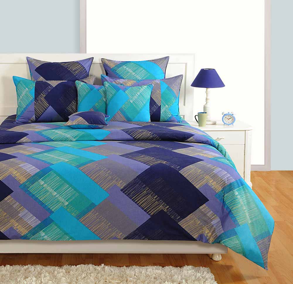 Swayam Purple and Blue Colour Square Patch Pattern Bed Sheet with Pillow Covers