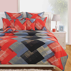 Bedsheets-Swayam Red and Grey Colour Square Patch Pattern Bed Sheet with Pillow Covers