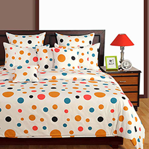 Swayam White and Yellow Colour Dots Pattern Bed Sheet with Pillow Covers