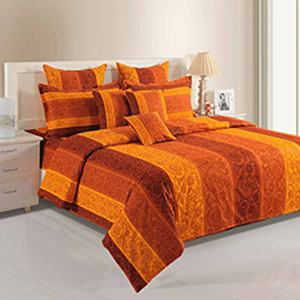 Swayam Orange and Yellow Colour Stripes and Floral Pattern Bed Sheet with Pillow Covers